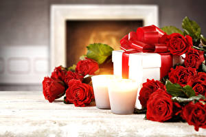 Hintergrundbilder Feiertage Rose Kerzen Rot Geschenke Blüte
