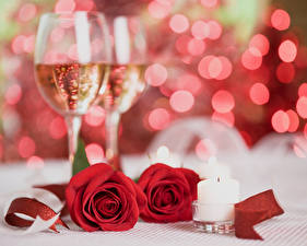 Image Holidays Roses Sparkling wine Candles Red Stemware 2 Flowers