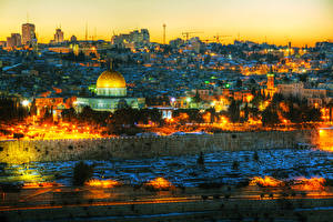 Bilder Israel Haus Abend Zaun Jerusalem