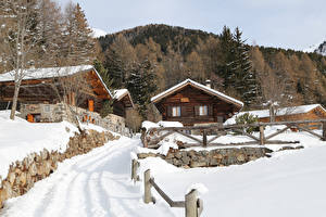 Picture Italy Houses Winter Snow Fence Alta Badia Cities