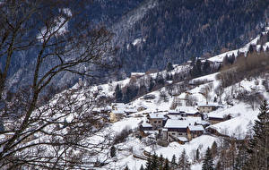 Image Italy Houses Winter Forests Alps Snow Branches Alta Badia Cities