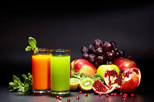 Wallpapers Juice Grapes Pomegranate Apples Chinese gooseberry Highball glass Two Grain Food