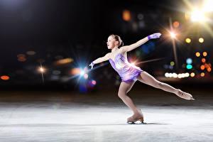 Images Little girls Ice Ice skate Children Sport