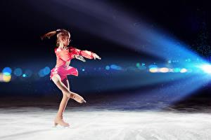Pictures Little girls Ice Ice skate Dance Children