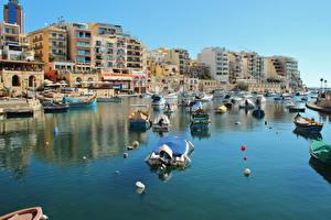 Bilder Malta Gebäude Schiffsanleger Motorboot Bucht Saint Julian's Städte
