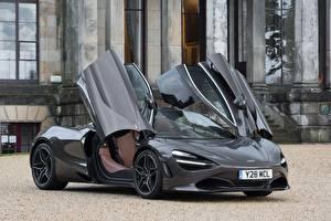 Wallpaper McLaren Gray Metallic Opened door 2017-18 720S Coupe Launch Edition Cars
