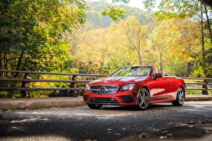 Hintergrundbilder Mercedes-Benz Rot Cabrio Metallisch 2018 E 400 4MATIC AMG Line Cabrio Autos