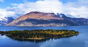 Photo New Zealand Mountain Island Lake Lake Wakatipu Queenstown Nature