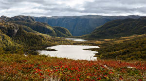 Hintergrundbilder Norwegen See Felsen Hügel Gras Forsand Rogaland Natur