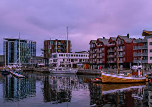 Image Norway Lofoten Houses River Pier Evening Riverboat Reine Cities
