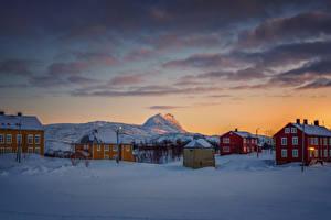 Photo Norway Winter Evening Houses Snow Sulitjelma Cities
