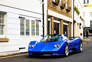 デスクトップの壁紙、、パガーニ・アウトモビリ、オープンカー、メタリック塗、青、2002-05 Zonda C12 S 7.3 Roadster、自動車