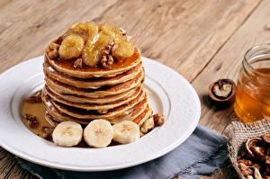 Bilder Eierkuchen Schalenobst Bananen Teller Lebensmittel