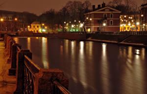 Hintergrundbilder Russland Sankt Petersburg Haus Kanal Zaun Straßenlaterne Nacht Städte