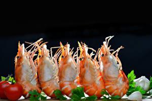 Wallpaper Seafoods Caridea Closeup Vegetables Black background Food