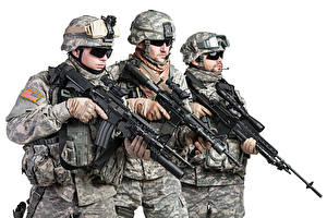 Image Soldiers Assault rifle White background Three 3 Uniform Eyeglasses military