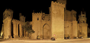 Wallpapers Spain Castles Night time Burg Olite Navarra Cities