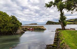 Hintergrundbilder Spanien Küste Schiffsanleger Bucht Bäume Laubmoose Luanco Asturias Natur