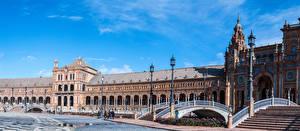 Hintergrundbilder Spanien Madrid Gebäude Platz Design Stiege Straßenlaterne Plaza de Espan