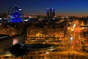 Bilder Spanien Madrid Haus Wege Stadtstraße Nacht Straßenlaterne Städte