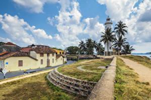 Hintergrundbilder Sri Lanka Tropen Leuchtturm Gebäude Palmen Galle fort Natur
