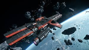 Bakgrundsbilder på skrivbordet Star Citizen Rymdskepp Fartyg Asteroider Caterpillar Datorspel 3D_grafik