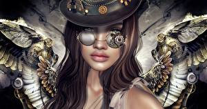 Pictures Steampunk Angel Glasses Fantasy 3D_Graphics Girls