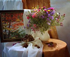 Bilder Stillleben Sträuße Astern Chrysanthemen Weintraube Malerei Vase Blumen Lebensmittel