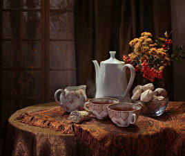 Wallpaper Still-life Bouquets Kettle Tea Cookies Table Cup Food