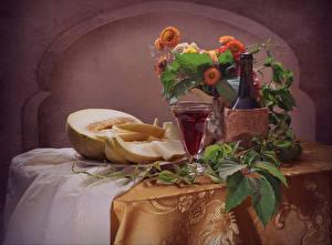 Bilder Stillleben Blumensträuße Wein Melone Dubbeglas Flasche