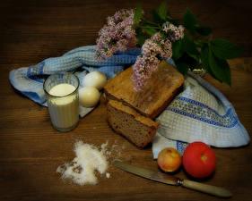 Wallpapers Still-life Bread Tomatoes Onion Milk Lilac Knife Wood planks Highball glass Eggs Salt Food