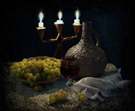 Fotos Stillleben Kerzen Wein Weintraube Kanne Weinglas