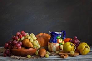 Fotos Stillleben Obst Weintraube Birnen Kanne