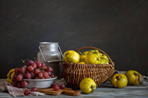 Wallpapers Still-life Fruit Grapes Wicker basket Food