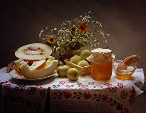 Image Still-life Honey Melons Apples Jar Food