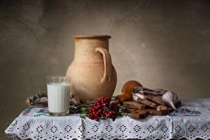 Hintergrundbilder Stillleben Milch Eberesche Brot Knoblauch Tisch Kanne Trinkglas Salo - Lebensmittel