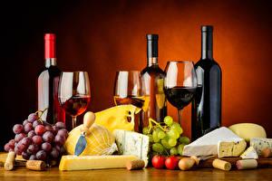 Bilder Stillleben Wein Weintraube Käse Zitrone Tomate Farbigen hintergrund Flasche Lebensmittel