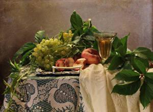 Fotos Stillleben Wein Weintraube Pfirsiche Tisch Dubbeglas Ast Lebensmittel