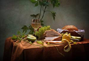 Hintergrundbilder Stillleben Wein Schinken Weintraube Äpfel Zitrone Brot Tisch Weinglas