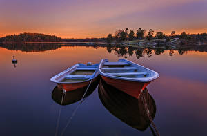Wallpapers Sweden Rivers Boats Sunrise and sunset 2 Nature