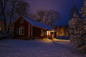 Bilder Schweden Winter Abend Gebäude Schnee Bäume Städte