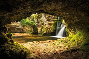 Pictures Switzerland River Waterfalls Caves Moss Venoge