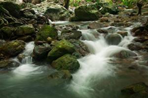 Sfondi desktop Thailandia Parco Cascate Pietre Muschio Sarika Waterfall Khao Yai National Park Natura