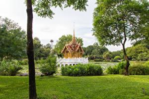 壁纸、、タイ王国、熱帯、公園、パゴダ、木、低木、Garden public park、自然