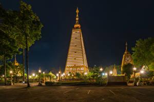 壁纸、、タイ王国、熱帯、公園、木、街灯、夜、Ubon Ratchathani、都市