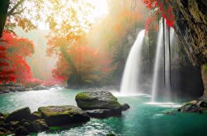 Sfondi desktop Thailandia Tropici Parco Cascata Autunno Pietre I muschi Heo Suwat Waterfall Khao Yai National Park Natura