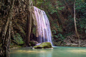 Sfondi desktop Thailandia Tropici Parco Cascate Pietre Il dirupo Muschio Erawan National Park Natura
