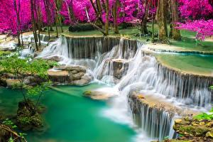 Sfondi desktop Thailandia Tropici Cascata Falesia Natura
