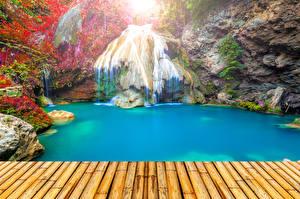 Sfondi desktop Thailandia Tropici Cascate Parco Ponte Falesia Natura
