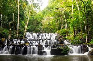 Sfondi desktop Thailandia Tropici Cascate Alberi Sam lan waterfall Natura